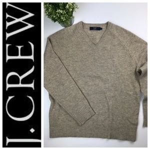 J.Crew Oatmeal Lambswool V Neck Sweater